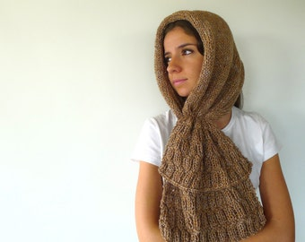 Knit hooded scarf in tan. Hooded neck warmer. Knit scarf hoodie. Wool cowl scarf. Unique handmade scarves