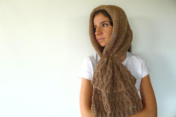 Bufanda capucha tostada. Bufandas de lana cerradas. Cuellos de