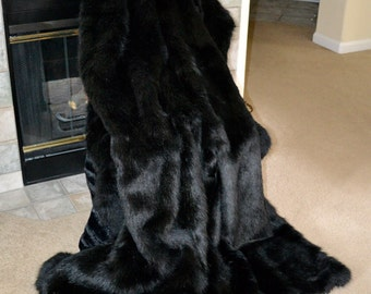 "Faux Fur Throw, Stunning Black Faux Fur, Black Bear Blanket Throw, 72"" x 60"""