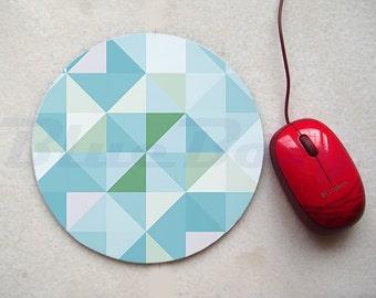 Blue Triangle Geometric Mousepad, Office Mousepad, Computer Mouse Pad, Fabric Mousepad