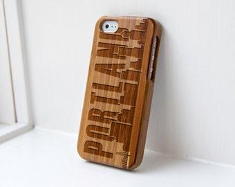 Portland Skyline iphone 5 Walnut case