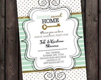 New home invitation, house warming invitation, open house, any occasion invitation with customized wording/ color accent change, mint gold
