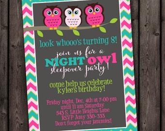 customized SAME DAY, SLEEP over invitation, Owl invitation,  any occasion invite, wording customized, sleepover birthday party invitation