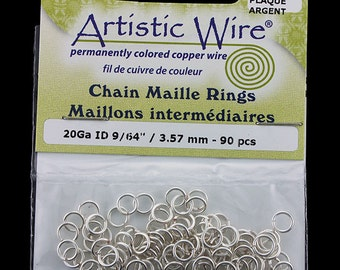 "Artistic Wire Tarnish Resistant Silver Color Jump Ring 3.5mm ID (9/64"")20ga (900AWS-14)"