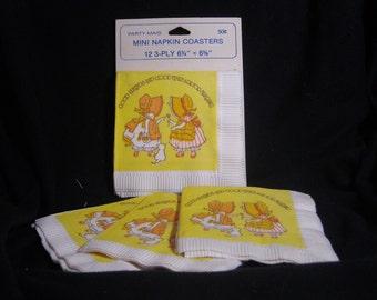Vintage Holly Hobbie Mini Paper Napkin Coasters from American Greetings