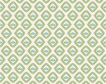 SALE Floribella Tulip Cream, light blue, green, and cream tulip floral pattern fabric by Emily Taylor Design for Riley Blake