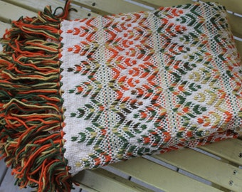 Vintage Orange and Green Fringed Throw