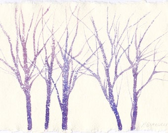 """original watercolor on handmade paper """"The first snow"""""""