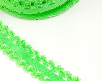 Lime green Picot edge stretch lace elastic - 7/8 lace elastic by the yard - Lace for headbands - Lace by the yard in 1, 3 or 5 yards