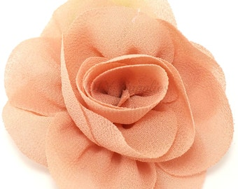 Dusty coral rose fabric flower - Rosette flower for headbands - Wedding hair clip flower - Wholesale chiffon flowers, Small rose flowers