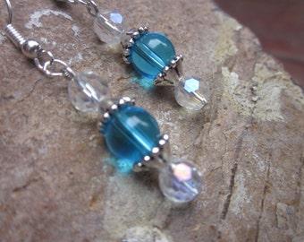 beaded earrings bridal party / bridesmaid crystal AB faceted glass  aqua blue,  green,  pink stone dangle drop earrings gift  idea