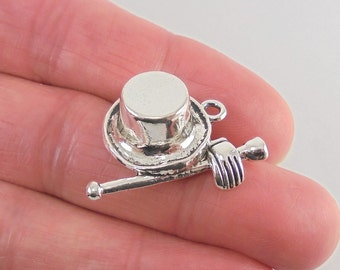 2 pc. Magician's Hat, Wand and Glove charm, 28x21mm, antique silver finish