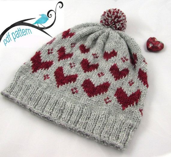Hat Knitting Pattern - V is for Valentine Child Hat Pattern for Knitters - Downloadable PDF Knitting Pattern - Valentine Hat for Kids