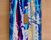 Silver Streak Vinyl Light Switch Cover. Outlet Cover, Abstract Painting, Modern Art, Vinyl Stickers, Striped Outlet, Purple, Blue, Silver