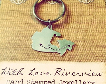 Love across Canada keychain, hand stamped