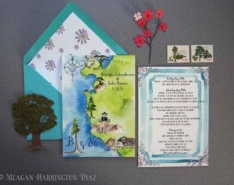 Big Sur Wedding - Watercolor Invites - Carmel Invites - Wedding Itinerary - Custom Itinerary - Custom Wedding Invitation, Custom Wedding Map