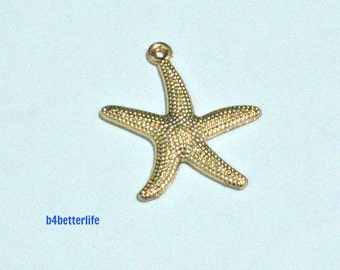 "Lot of 24pcs ""Starfish"" Gold Color Plated Metal Charms. #HY23567."