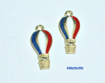 """Lot of 24pcs """"Hot Air Balloon"""" Gold Color Plated Enameled Metal Charms. #HY2944."""