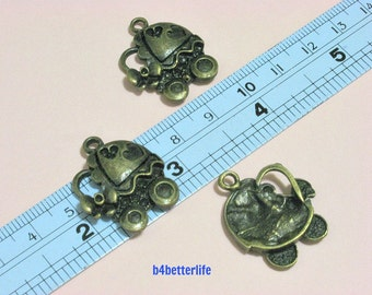 """Lot of 24pcs Antique Bronze Tone """"Baby Stroller"""" Metal Charms. #BC3149."""