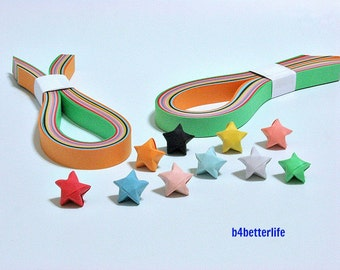 200 strips of Assorted Color DIY Origami Lucky Stars Paper Folding Kit. 28.5cm x 1.03cm. (MT Paper Series).