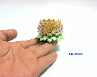 A piece of Small Size Goldenrod Color Origami Lotus. (AV paper series). #FLT-164.