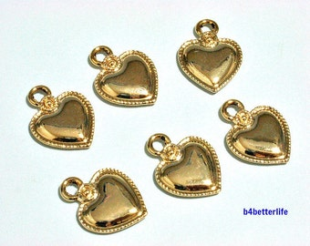 """Lot of 24pcs Double Sided """"Golden Heart"""" Gold Color Plated Metal Charms. #XX170."""