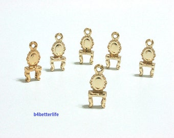 """Lot of 24pcs """"Dressing Table"""" Gold Color Plated Metal Charms. #XX248."""