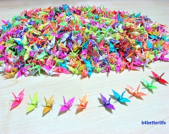 "1,000pcs Assorted Colors 1-inch Origami Cranes Hand-folded From 1""x1"" Square Paper. (AV paper series). #FC1-15."