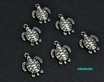 "Lot of 24pcs Antique Silver Tone ""Turtle"" Metal Charms. #JL3343."