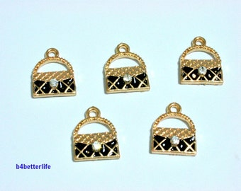 "Lot of 20pcs ""Handbag Black"" Gold Color Plated Enameled Metal Charms. #SW563."