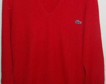 Vintage Izod Lacoste V-Neck Red Sweater, Size Medium