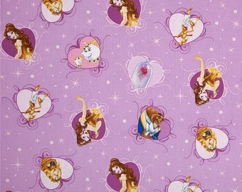 Disney Beauty & The Beast Belle with Film/Hearts Lavender Sold by the FAT QUARTER of a METRE