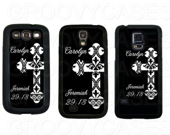 Personalized Samsung Galaxy S3 S4 S5 Case Rubber Cross Religious