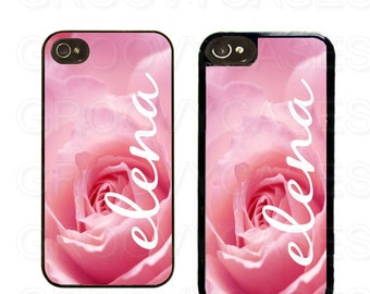 Personalized iPhone 4 4s 5 5s 5c Case Rubber Pink Rose