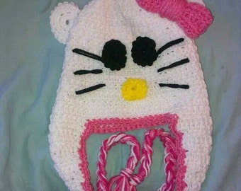Adorable Kitty Cat with Bow Hat Size Child to Adult