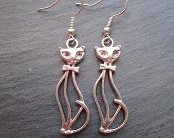Silver Jazz Cat with Bowtie Earrings