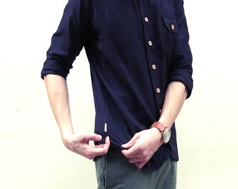 Mens Linen Shirt - Collarless Curve-hem Top (Black color)