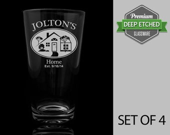 House Warming Gift, Set of 4 pint glasses with pitcher, personalized with design