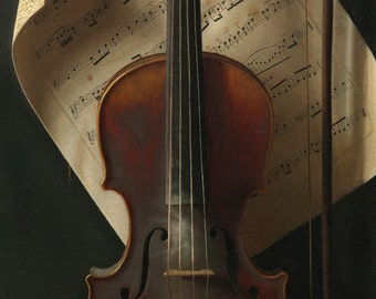 The Old Violin, Trompe L'oeil American Oil Painting Print