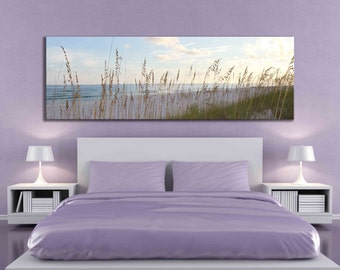 Large panoramic canvas beach ocean sand sea oat fine art sunset sunrise peaceful home decor nature over the bed living room lake photograph