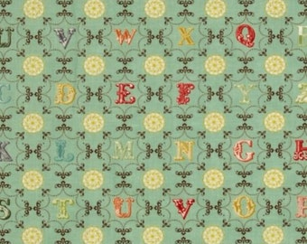 1/2 Yard Odds & Ends Vintage Metro Alphabet From A To Z Sky Blue by Cosmo Cricket for Moda Fabrics 37045 13