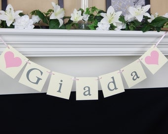 Baby name banner,baby banner,baby shower,baby shower sign,baby shower decorations, girl baby banner, baby girl banner, its a girl banner