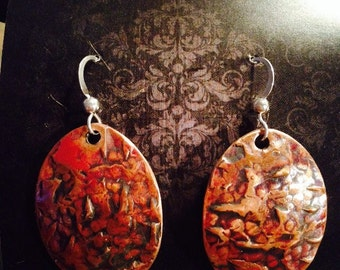 Large Oval Textured Copper Earrings