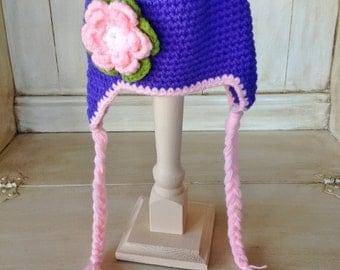 0-6 Months - Pink and Purple Tassle Hat - Flower Hat -  Children's Baby Hat - Girl Hat - Crochet - Knit - Photo Prop - Baby Shower Gift