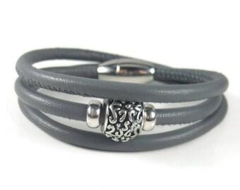 Grey Leather Wrap Bracelet, Womens Leather Bracelet, Womens Leather Jewelry, Triple Wrap Leather Bracelet, Genuine Leather Bracelet
