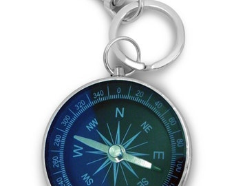 Round compass key ring, engraved / personalised with velvet gift pouch - L15-k