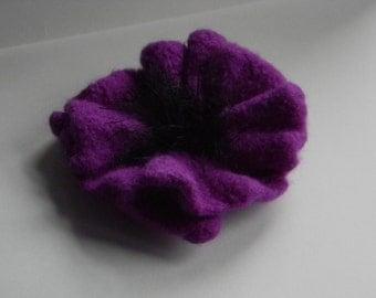 Purple Poppy Pin vivid reddish purple handknit wool felted handmade brooch--for coat, hat, or tote--4 1/2 in.