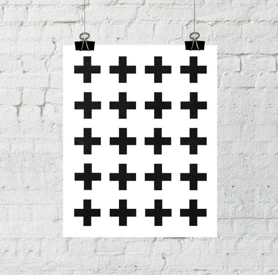 Scandinavian Art, Modern Wall Art, Swiss Cross, Black and White Prints, Scandinavian Print, Minimalist Art, Printable Wall Art, Plus Sign