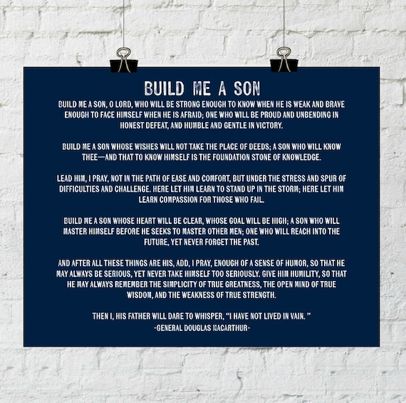 Build Me A Son. General Douglas MacArthur Quote. Instant Digital Download. Printable Wall Art 11x14 Poster Print - ADOPTION FUNDRAISER