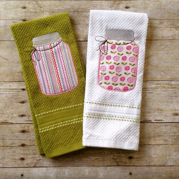 Towels And Other Kitchen Accessories: Mason Jar Kitchen Towel Set Tea Towels Kitchen Decor Mason